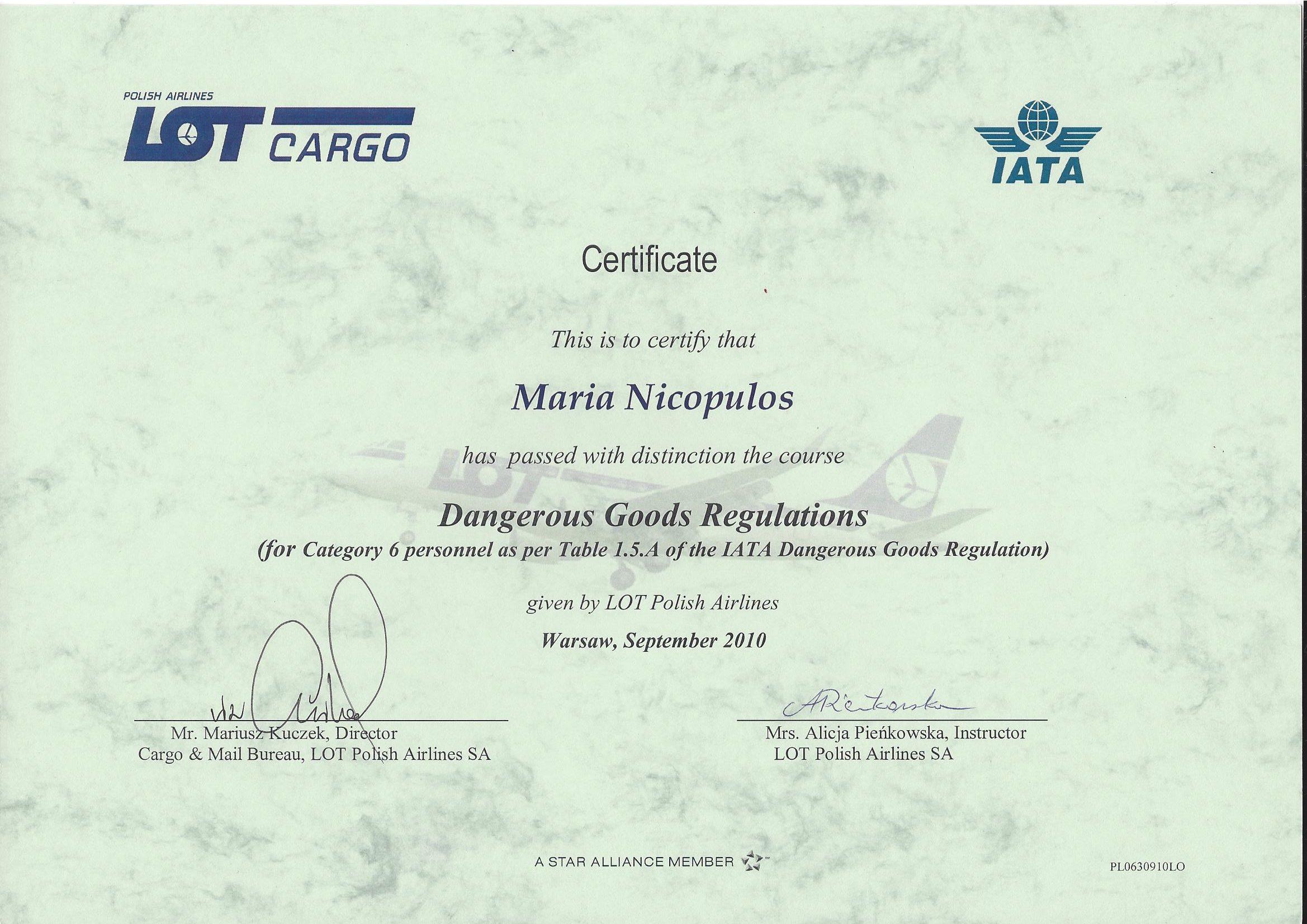 Świadectwo IATA 2010 Maria Nicopulos
