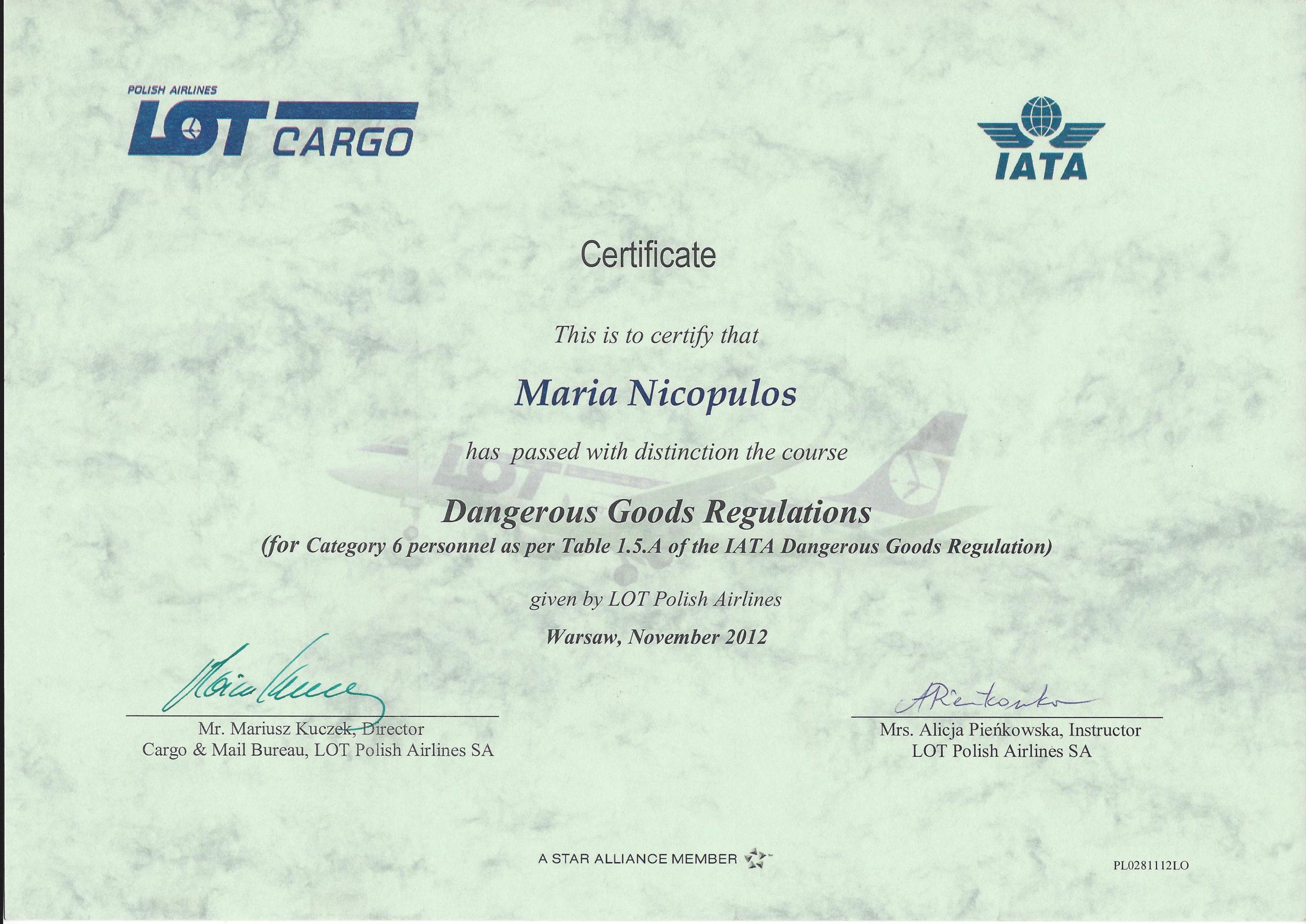 Świadectwo IATA 2012 Maria Nicopulos